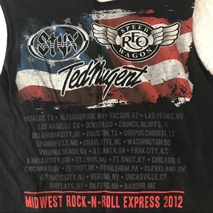 Tops - Distressed Ted Nugent Styx REO Speedwagon Shirt